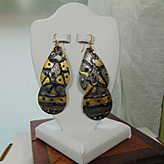 Enameled Brass Earrings w 14KGF Ear Wires