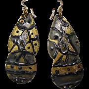 Enameled Brass Earrings w 14KGF Ear Wires