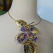 Sterling Silver Butterfly on Leaves w Amethysts Choker