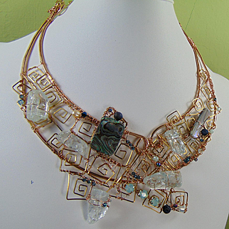 Bronze Sculpted Bib Style Necklace w Abalone n Crystals