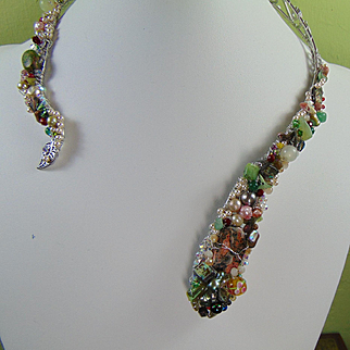 Mixed Metal Wrap Around Serpent Bejeweled Necklace
