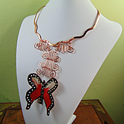 Sculpted N Painted Bronze Butterfly on Copper Necklace
