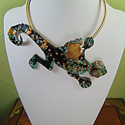 Painted Leather Lizard Necklace