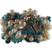 Mixed Metals Octopi w Cultured Freshwater Pearls Bracelet