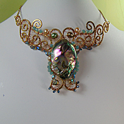 Sculpted Brass Choker w Abalone, Cultured Freshwater Pearls n Crystals