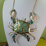 Painted Brass Crab w Cultured Freshwater Pearls n Crystals Necklace