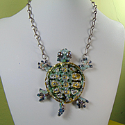 Mixed Metal Painted Turtle Bejeweled Necklace