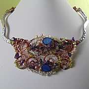 Mixed Metal Bejeweled Bib Style Necklace