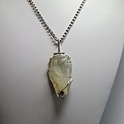 Calcite on Sculpted Sterling Silver Pendant Necklace