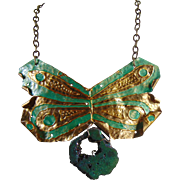 Painted Dragonfly on Sculpted Brass Necklace