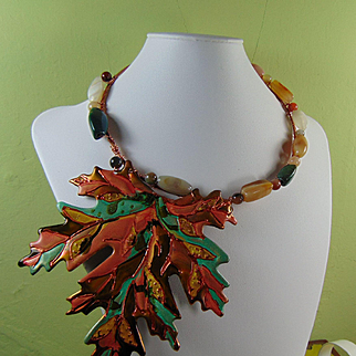 Sculpted Painted Leaf w Agate on Copper Choker