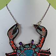Painted Leather Crab Necklace.
