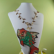 Painted Leather Fish on Gilded Leaf Necklace w Brass Clasp.