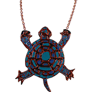 Painted Leather Turtle Necklace on Copper