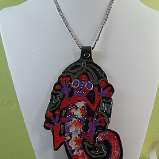 Primitive Painted Lizard Pendant Necklace