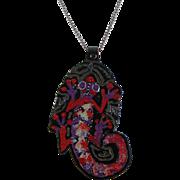 Primitive Painted Lizard Pendant Necklace