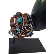 Leather Cuff w Sterling Silver and Turquoise