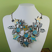 Painted Leather Stars and Leaves Necklace
