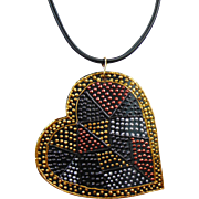Big Heart Pained Leather Pendant Necklace