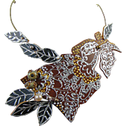 Floral Painted Leather Necklace