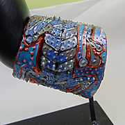 Blue Lizard Wrap Cuff Painted Leather Bracelet
