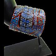 Blue Lizard Wrap Cuff Painted Leather Bracelet