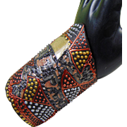 Painted Leather Lizard Wrap Cuff in Warm Tones