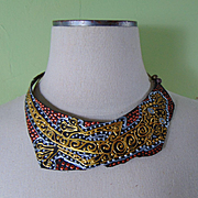 Leather on Jeweler's Brass Collar in Metallic Tones