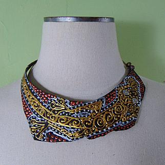 Leather on Jeweler's Brass Collar in Metallic Tones