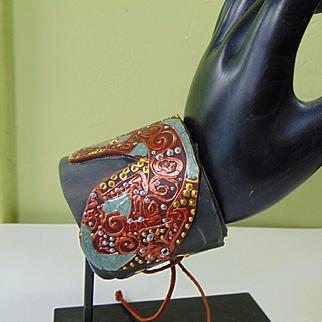 Painted Leather 'Lizard' Wrap Bracelet