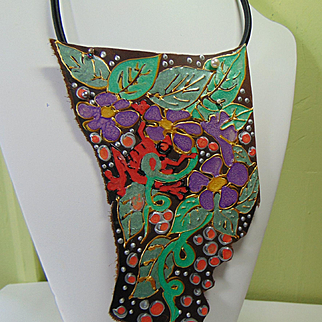 'Frog' in the Jungle Painted Leather Necklace.
