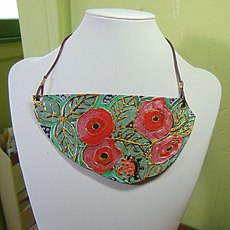 'Ladybug' n Roses Painted Leather Necklace.