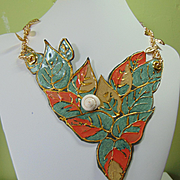 'Snail on Leaves' Leather Necklace.