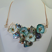 Paper n Abalone W swarovski n Cultured Freshwater Pearls on 14KGF Necklace.