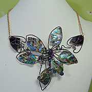 Abalone n Amethyst on Annealed Steel Flower Necklace
