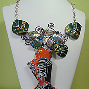 Fish in Weeds Leather n Abalone on Annealed Steel Necklace