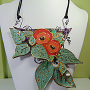Annealed Steel Painted Leather Floral Necklace with Amethysts n Swarovski Crystals.