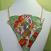 Playful Dog Painted Leather Bib Necklace