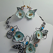 Sculpted Steel Necklace and Earring Set w Paper Flowers n Painted Leather Leaves Bejeweled