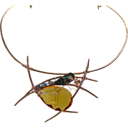 Sculpted Bronze Abstract Choker w Crystals n Abalone.