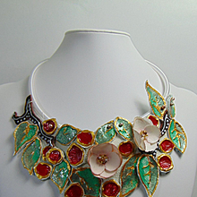 Mixed Media Cherry Painted Leather Necklace