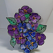 "Painted Leather ""Bunch of Violets"" Pin"