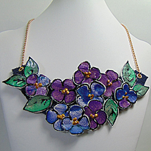"""""""Bunch of Violets"""" Painted Leather Necklace"""