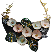 Painted Leather Necklace with Paper Flowers