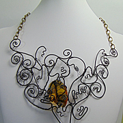Sculpted Annealed Steel Necklace w Amber Glass Crystal.
