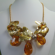Mixed Metal Necklace w Amber Glass Crystals and Cultured Freshwater Pearls