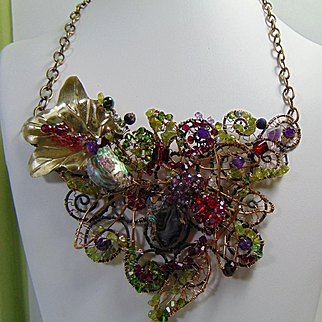 Bejeweled Steel and 14KGF Necklace