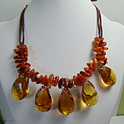 Boho Chic Amber and Amber Glass Necklace