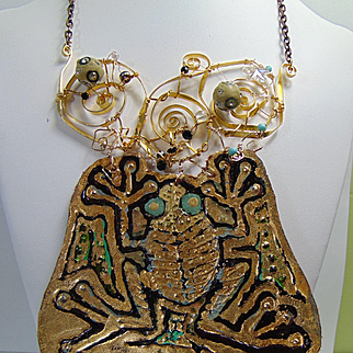 Juggling Frog Mixed Media Necklace