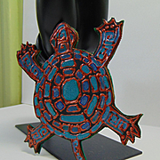 Pebeo Painted Leather Turtle Pin